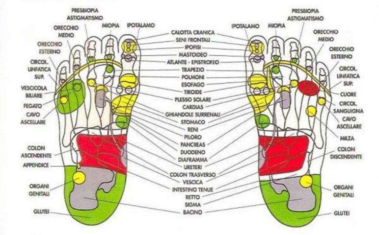 punti e mappa dei piedi in riflessologia plantare
